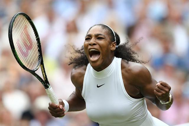 Serena Williams beat Angelique Kerber in two sets at Wimbledon to take the singles title on July 9, 2016 (AFP Photo/Justin Tallis)