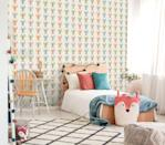 """<p>As kids tend to change their minds quickly, it can be worth only wallpapering one wall (to create a <a href=""""https://www.housebeautiful.com/uk/decorate/walls/g37445970/instagram-feature-wall-trends/"""" rel=""""nofollow noopener"""" target=""""_blank"""" data-ylk=""""slk:feature wall"""" class=""""link rapid-noclick-resp"""">feature wall</a>) rather than all four. This can be a bonus as it means it can become the focal point of the whole scheme. Our top tip: Choose a design that's fun and has a bit of longevity. This design ticks all of those boxes and adds some fab colour, too. The three colours make it easy to accessorise with and pale blond wood looks a treat with it.</p><p>Pictured: Aruba in cream by Elizabeth Ockford, <a href=""""https://go.redirectingat.com?id=127X1599956&url=https%3A%2F%2Fwww.wallpaperdirect.com%2Fproducts%2Felizabeth-ockford%2Faruba%2F167517&sref=https%3A%2F%2Fwww.housebeautiful.com%2Fuk%2Fdecorate%2Fbedroom%2Fg35589644%2Fgirls-bedroom-ideas%2F"""" rel=""""nofollow noopener"""" target=""""_blank"""" data-ylk=""""slk:Wallpaper Direct"""" class=""""link rapid-noclick-resp"""">Wallpaper Direct</a></p>"""