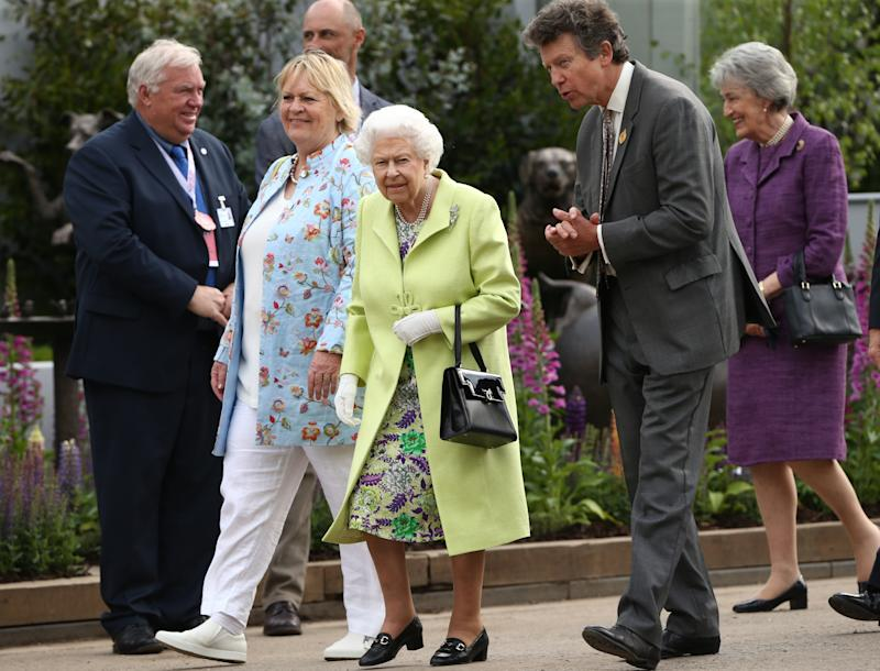 Queen Elizabeth II arrives at the RHS Chelsea Flower Show at the Royal Hospital Chelsea, London.