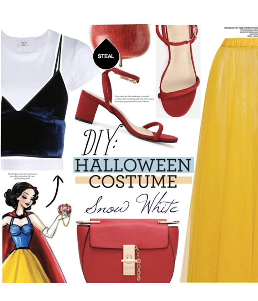 "<p>We love this Polyvore user's ultramodern take on <a rel=""nofollow"" href=""http://www.polyvore.com/diy_snow_white/set?id=209619455"">Snow White</a> – <a rel=""nofollow"" href=""http://www.polyvore.com/alexander_wang_stretch_bralette/thing?context_id=209619455&context_type=collection&id=183730867"">velvet tank top</a>, anyone? </p>"