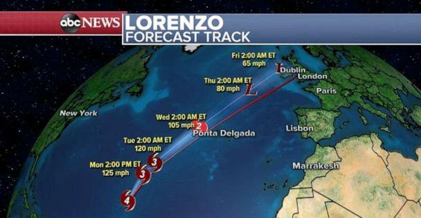 PHOTO: Hurricane Lorenzo is weakening as it heads northeast in the Atlantic Ocean. (ABC News)