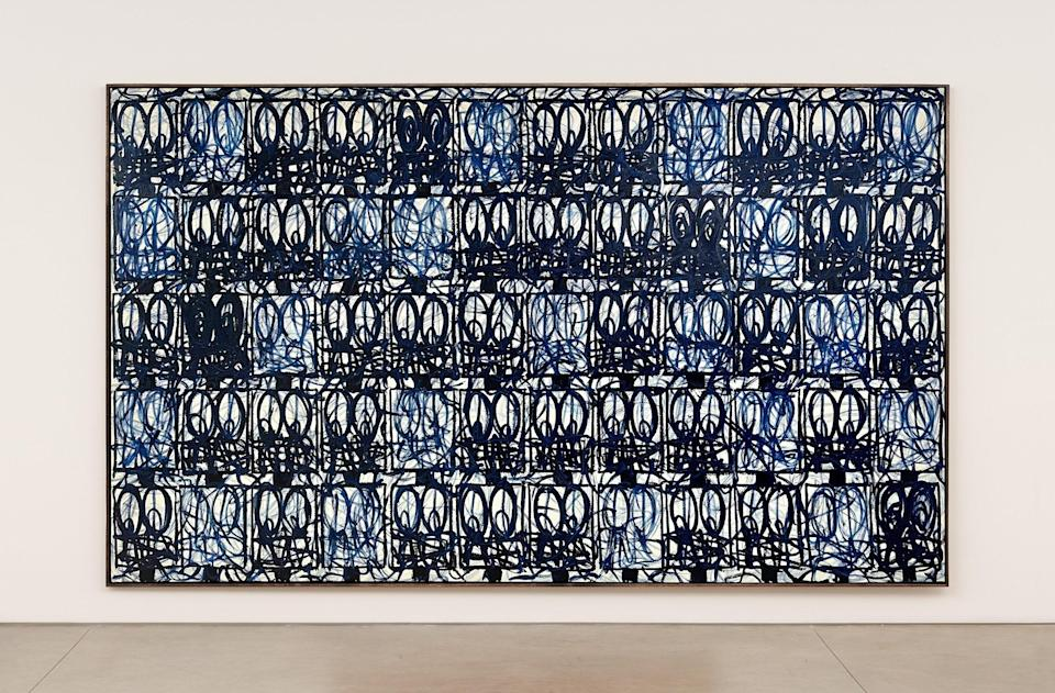 """Rashid Johnson, Bruise Painting """"Body and Soul,"""" 2021, oil on linen. 95 7/8 x 157 3/4 x 2 1/2 inches (243.5 x 400.7 x 6.4 cm)."""