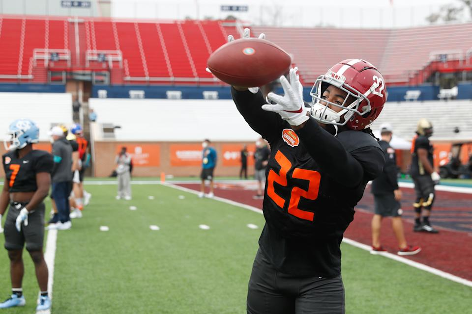 Najee Harris proved he can catch the ball at Alabama, but his receiving duties could be expanded even more with the Pittsburgh Steelers. (Photo by Senior Bowl/Collegiate Images/Getty Images)