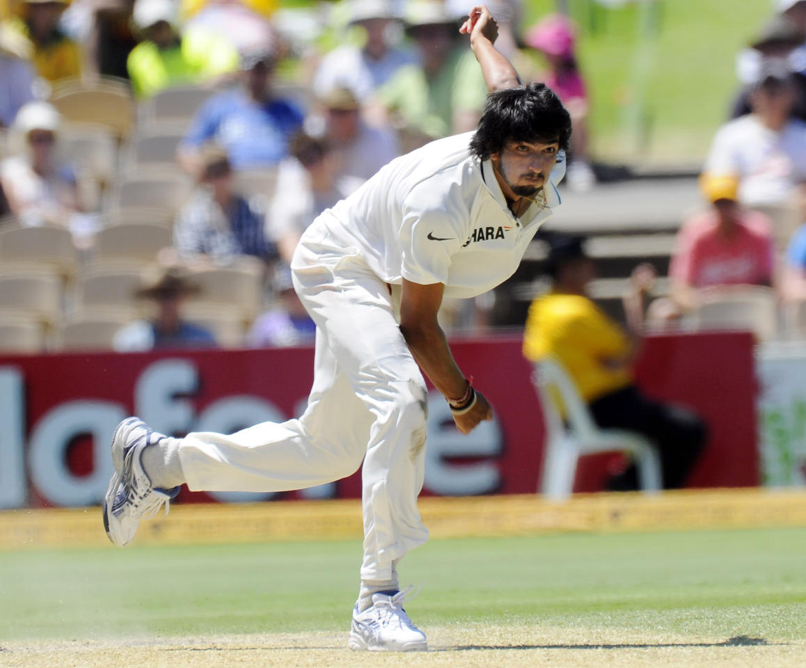 India's Ishant Sharma bowls against Australia during the fourth cricket test in Adelaide, Australia. Wednesday, Jan. 25, 2012. (AP Photo/David Mariuz)