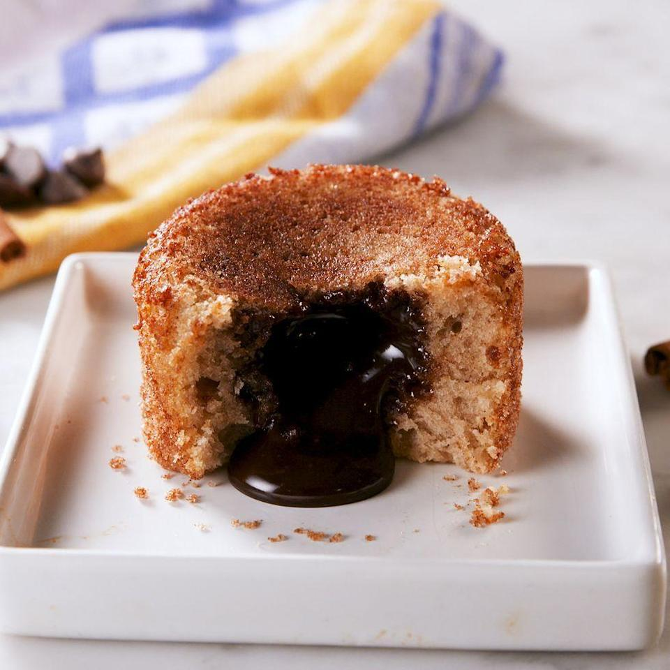 """<p>When you really want to impress, make these. They're like <a href=""""https://www.delish.com/uk/cooking/recipes/a30868435/molten-chocolate-cakes-recipe/"""" rel=""""nofollow noopener"""" target=""""_blank"""" data-ylk=""""slk:molten lava cakes"""" class=""""link rapid-noclick-resp"""">molten lava cakes</a>, but better because of the caramelised cinnamon sugar crust. <strong>WARNING:</strong> When adding the chocolate to the centre of the batter, do not press down. The chocolate will escape the cake if you do! </p><p>Get the <a href=""""https://www.delish.com/uk/cooking/recipes/a33529754/churro-lava-cakes-recipe/"""" rel=""""nofollow noopener"""" target=""""_blank"""" data-ylk=""""slk:Churro Lava Cakes"""" class=""""link rapid-noclick-resp"""">Churro Lava Cakes</a> recipe.</p>"""