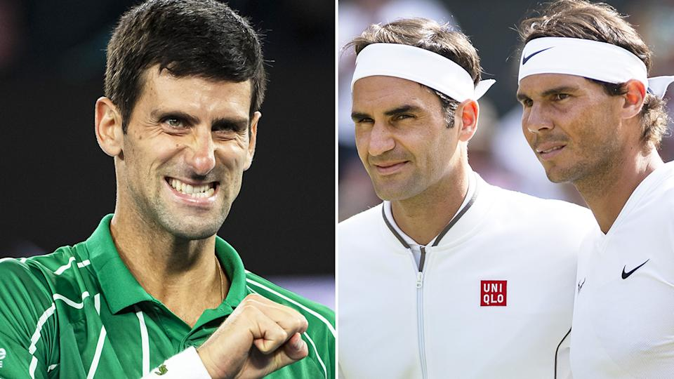 A 50-50 split image shows Novak Djokovic on the left and Roger Federer and Rafael Nadal posing together on the right.