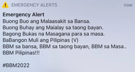 FILE PHOTO: Screengrab of the emergency text blast