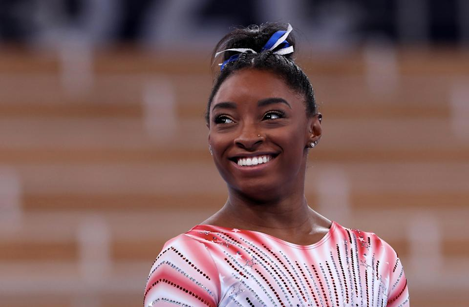 TOKYO, JAPAN - AUGUST 03: Simone Biles of Team United States reacts before the Women's Balance Beam Final at Ariake Gymnastics Centre on August 03, 2021 in Tokyo, Japan. (Photo by Xavier Laine/Getty Images)