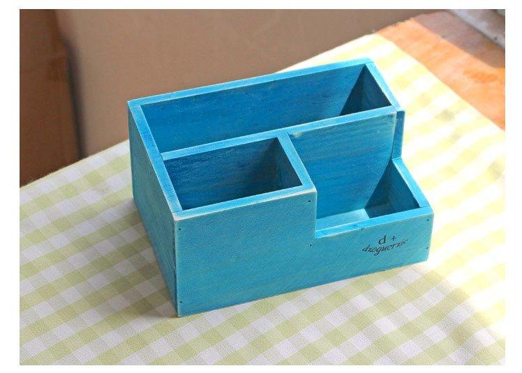 Boo zakka 雜貨 藍色 水藍色 原木 三格收納文具盒 三格筆筒收納 整理3格木盒 筆盒 OTU10C5