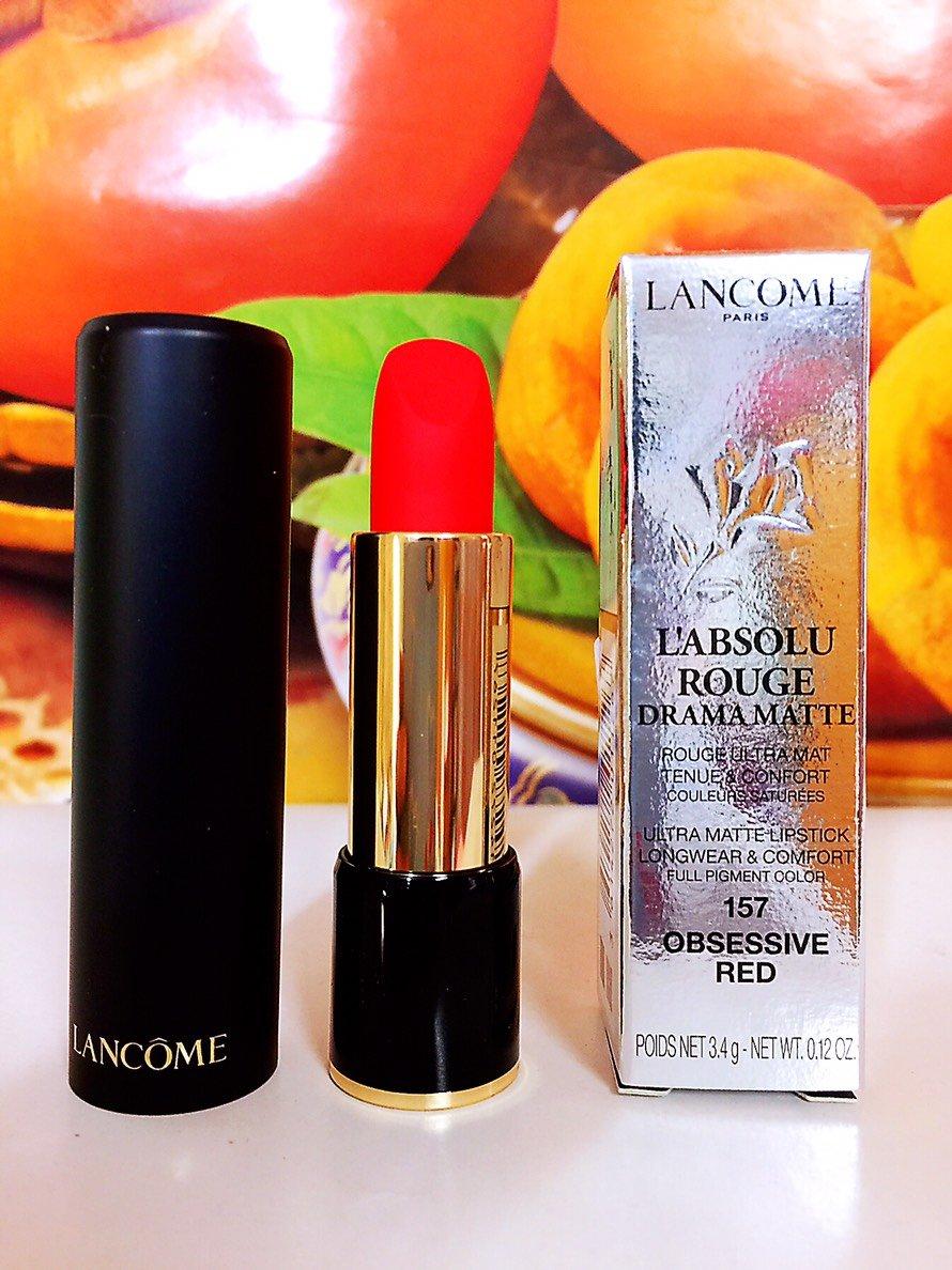 LANCOME 蘭蔻 蘭蔻絕對完美迷霧唇膏 3.4g 色號: 157 OBSESSIVE RED 百貨公司專櫃正貨盒裝