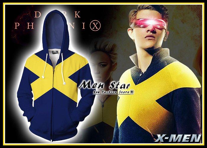 【Men Star】免 X戰警 黑鳳凰 新戰衣 彈力 外套 連帽外套 獨眼龍 快銀 服 衣 媲美 nike