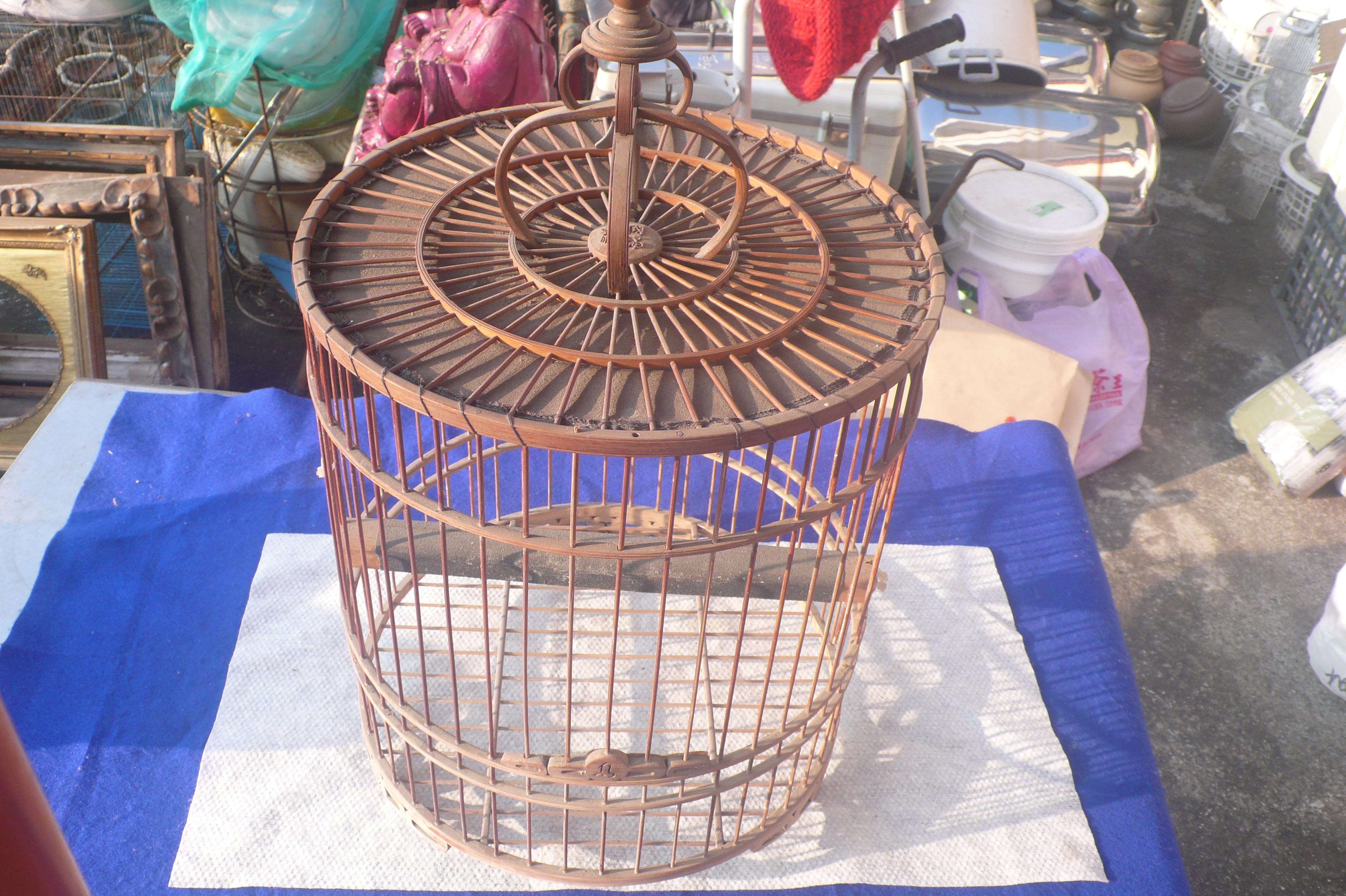 藍色小館39------------早期手作鳥籠{有年月落款.有傷}