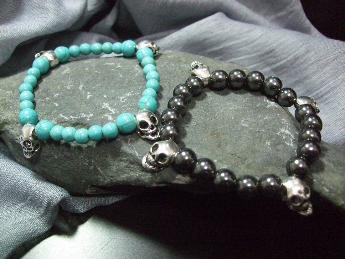 骷髏手鍊 綠松石、黑膽石男女 手鍊(2),重機.搖滾.我形我塑【與自然對  畫  】