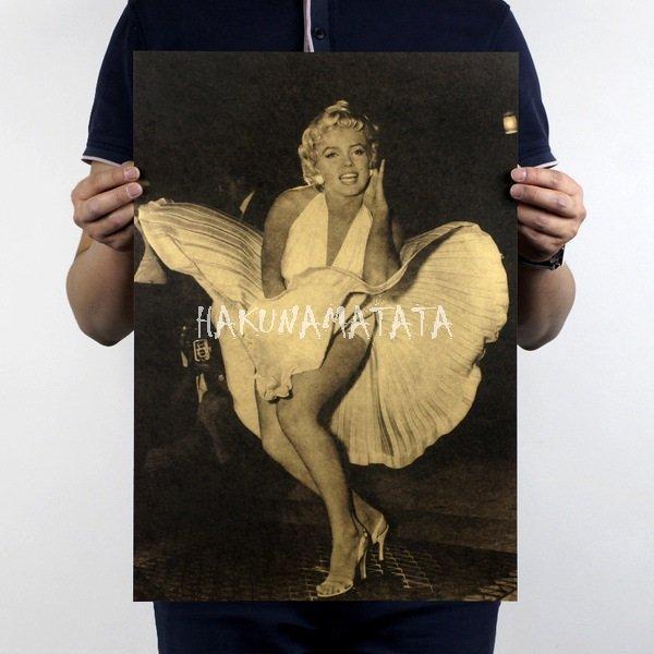 【貼貼屋】瑪麗蓮夢露 金髮傻妞 美國女演員 人物 懷舊復古 牛皮紙海報 壁貼 店面裝飾  606