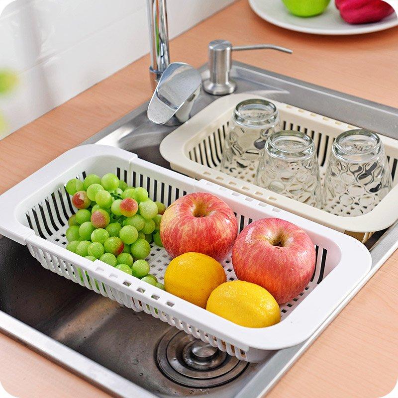 廚房寶可伸縮廚房水槽瀝水架 家用塑料長方形碗碟架蔬菜收納架碗筷架子