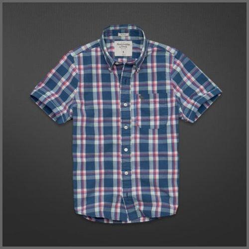 美國AMPM【現貨S135】AF, A&F Calamity Pond Shirt 男版藍紅色格紋薄款襯衫 L號