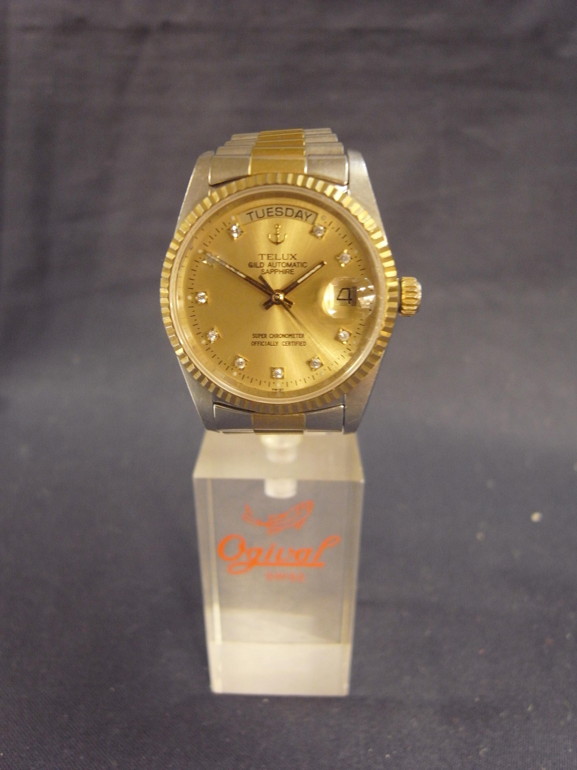 +*阿威的藏寶箱‧*【瑞士機芯 Telux 鐵力士 GILD AUTOMATIC SAPPHIRE 自動手錶 防水 】