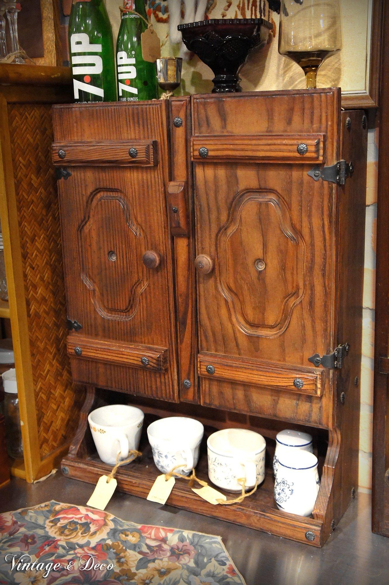 美國古董廚房木製收納小櫥櫃 復古廚房邊櫃 老木櫃 [KS-0334] 復古家具 二手櫃子 古董傢俱 中古舊木櫃 老櫥櫃