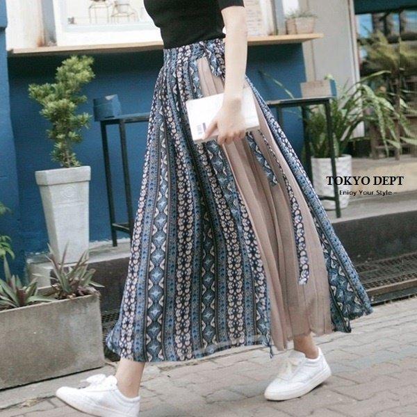 TOKYO DEPT【F8846】韓氣質雪紡長裙.百褶長裙 長裙過膝裙 裙子 A字裙 韓 雪紡長裙