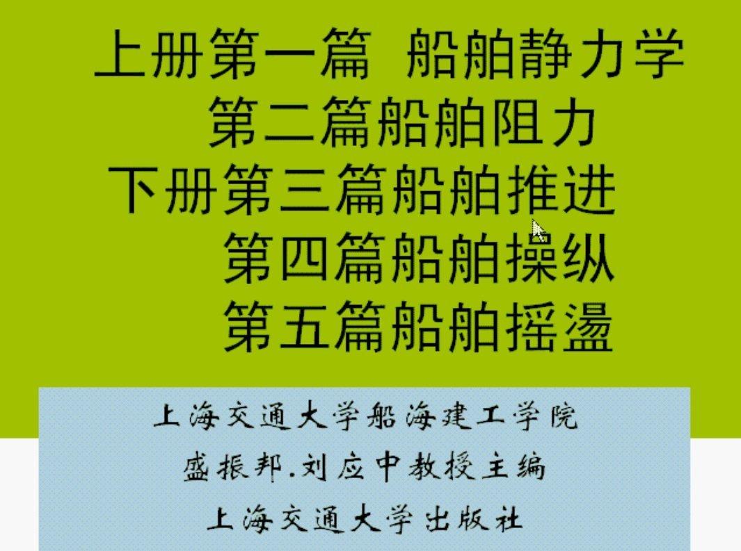 【9420-1782】船舶原理 教學影片 - ( 36 堂課 上海交通大學 ) 420 元!