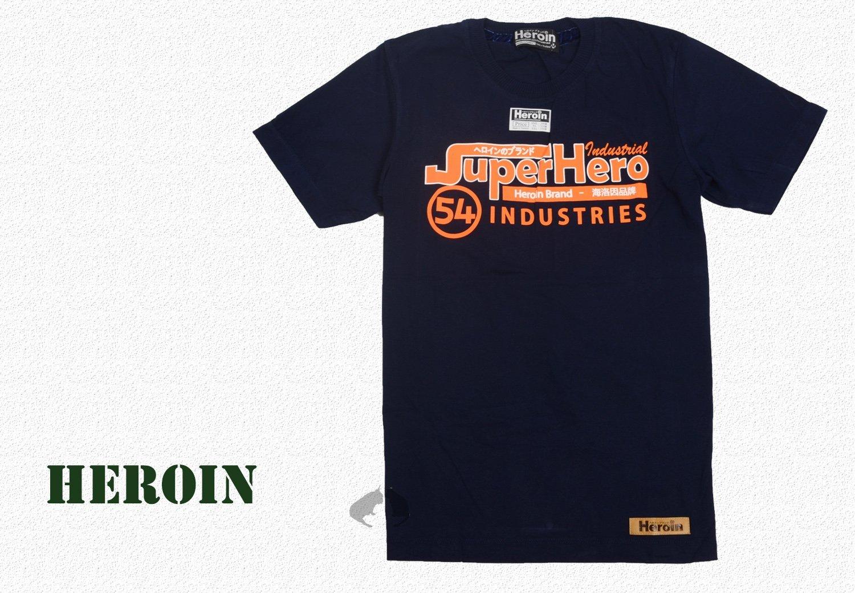 男棉T 街頭 Heroin海洛因品牌 海洛因字樣 深藍 字母T恤 ~阿法.伊恩納斯  SURPERHERO 經典風格 潮牌