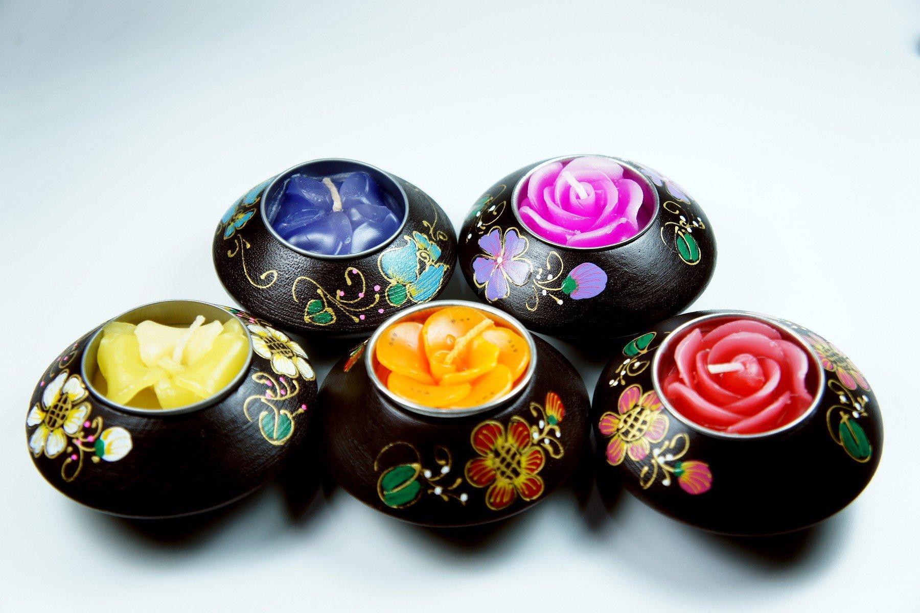 「還願佛牌」泰國 家居 東南亞風格 手繪 簡約風 芒果木 圓 小燭台