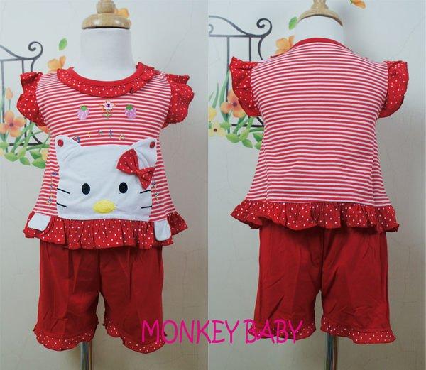 滿699免運【MONKEY BABY 】紅色點點貓咪蝴蝶結幼童套裝(0808)