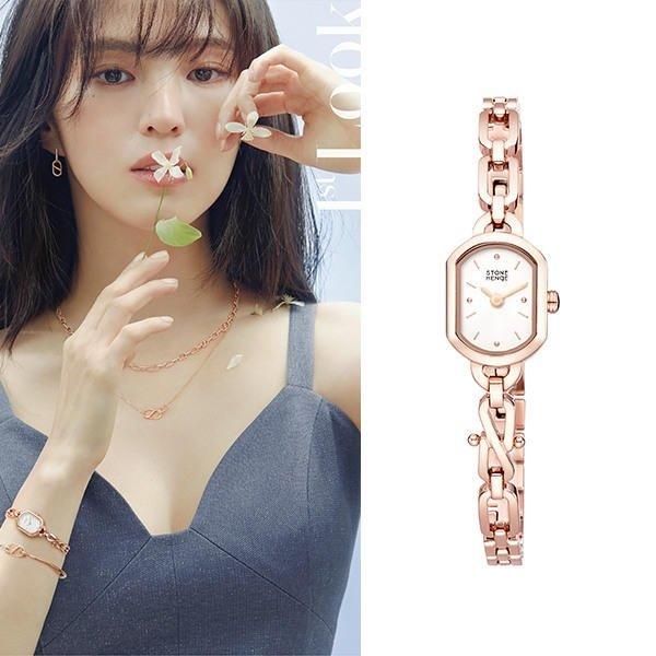 小金*韓國代購*韓星韓素希同款品牌 STONE HENGE S LINK 系列玫瑰金女用手錶/鍊錶型號0275 ~預購中