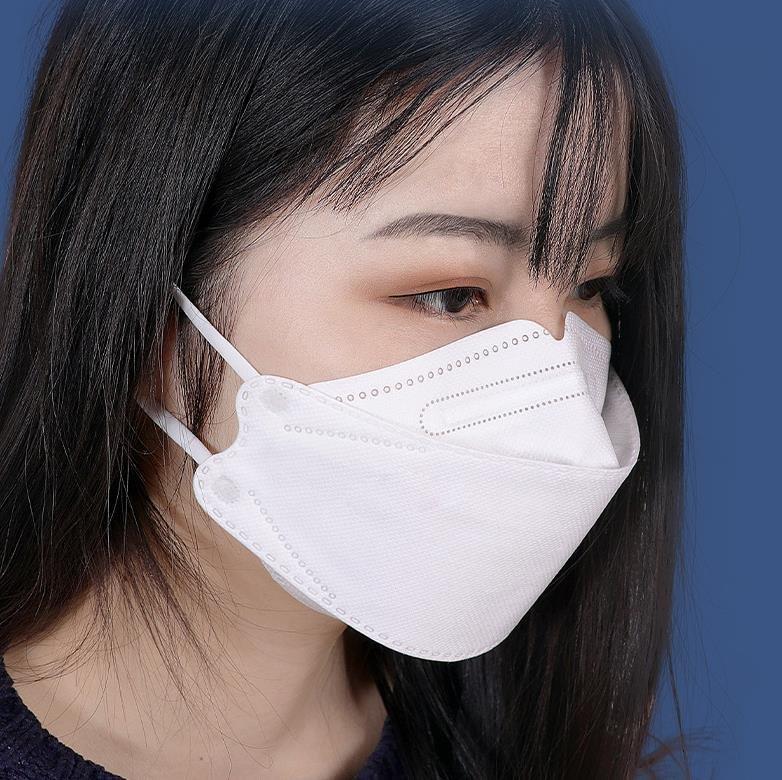 韓國 100片成人一次性四層口罩KF94魚形口罩Kn95口罩魚嘴形柳葉型折疊口罩KF94獨立包裝