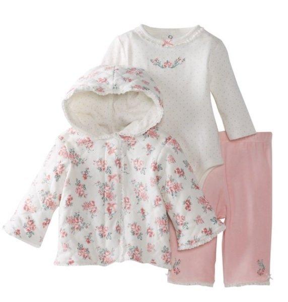 Little Me 典雅玫瑰連帽外套3件組(外套 長袖包屁衣 粉色長褲)9m(售:1280含運)