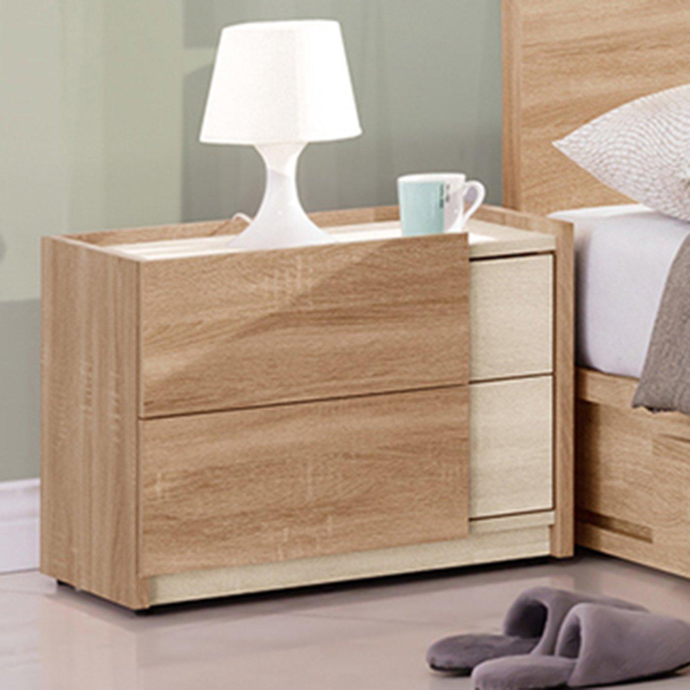 【優比傢俱 館】19 來來購-葛瑞絲浮雕耐磨橡木1.8尺二抽床頭櫃 ZX307-2