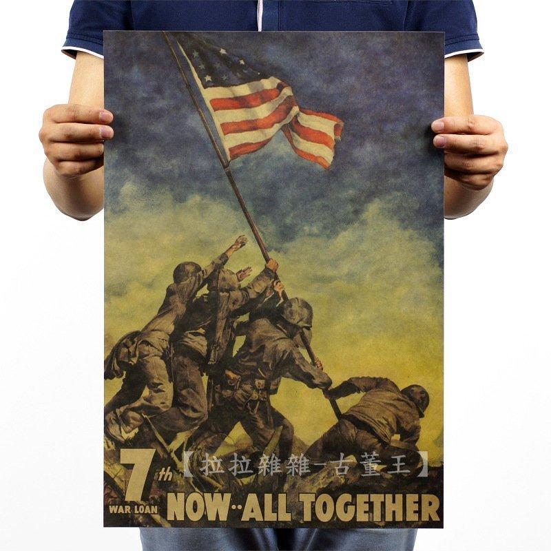 【貼貼屋】硫磺島上的美國國旗 懷舊復古 牛皮紙海報 壁貼 店面裝飾 電影海報 486