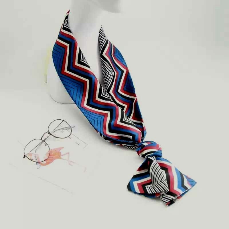 ❴4條免運❵ 小絲巾女春秋百搭長款圍巾雙面領巾韓國披肩領結緞面印花紗巾----波浪幾何