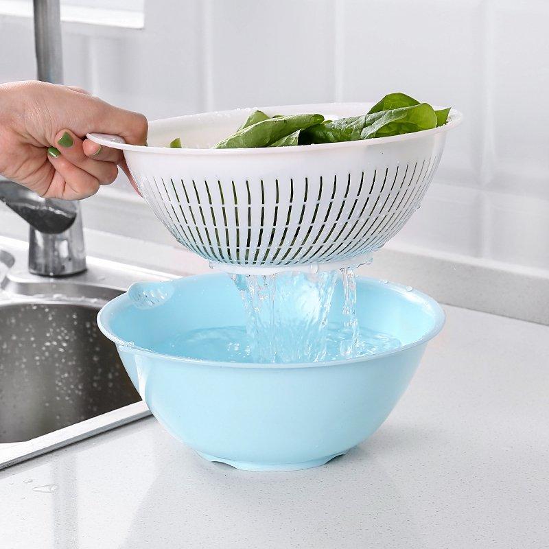 廚房寶!!!家用雙層瀝水籃廚房洗菜盆瀝水籃水果蔬菜清洗瀝水篩洗菜籃水果籃