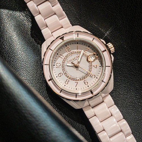 COACH美國精品手錶- 小香風水鑽 數字刻度陶瓷腕錶 | 粉 x 粉陶瓷
