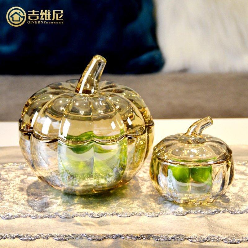〖洋碼頭〗歐式美式簡約現代客廳家裝飾品創意水晶玻璃創意南瓜儲物罐小擺件 jwn105