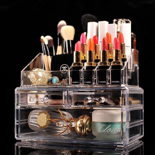 [ ohya梨花 ] 私房 小物 透明化妝品收納盒透明亞克力塑料抽屜多層首飾彩妝收納盒