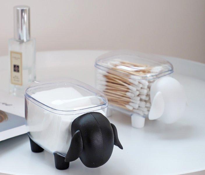 小羊 可愛收納盒 棉花棒收納 化妝棉收納 文具收納 黑色 白色 小物收納【小雜貨】