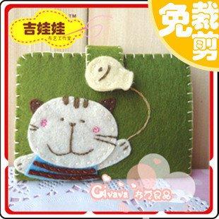 【免剪裁】不織布 DIY材料包 綠底貓咪名片包 卡包