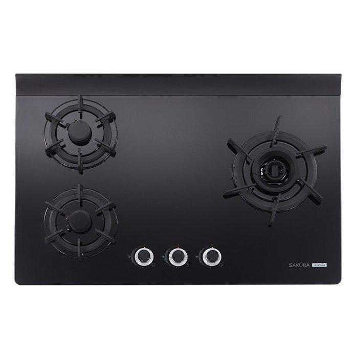 明美廚櫃 G2932AGB 櫻花牌三口雙炫火玻璃檯面爐