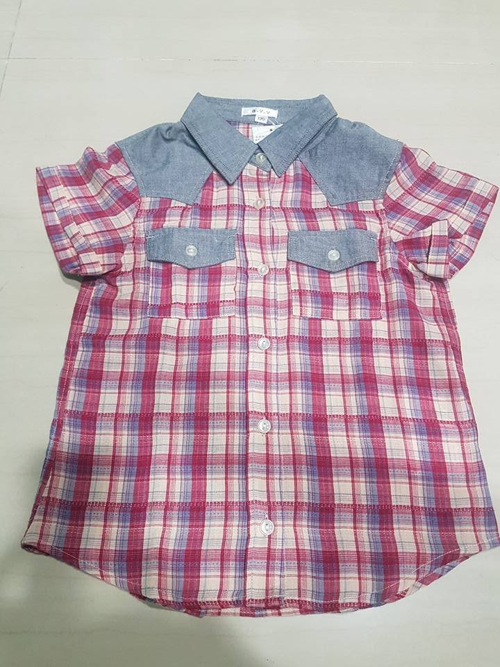 a.v.v 男童短袖格子襯衫 SIZE:130