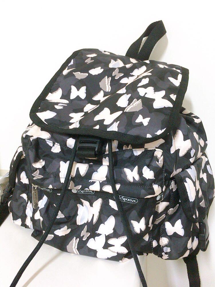 免運 Lesportsac 保證台灣專櫃正品 蝴蝶漫舞 黑色 可放A4 後背包 書包 超大容量 旅行 出遊