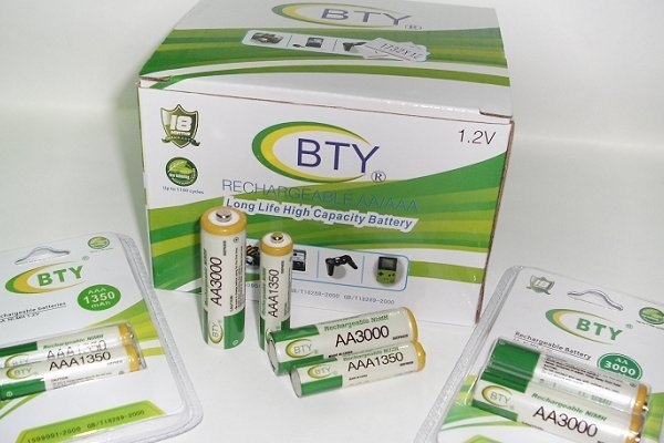 小潮批發【031】BTY牌 3號 3000mah 4號 1350mah 超大容量鎳氫充電電池 環保充電電池 環保品質優