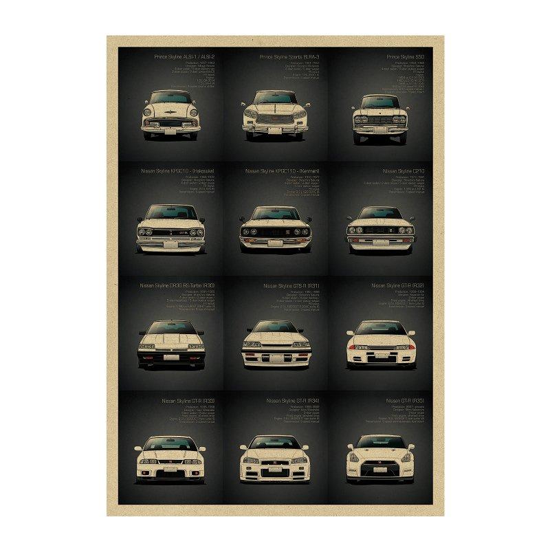 【貼貼屋】GTR 系列車行大集合 跑車 頭文字D 戰神 復古海報 牛皮紙海報 店面裝飾 壁貼 A39