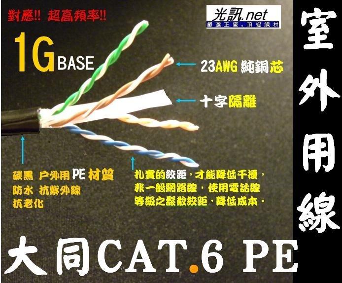 [光訊.net] 大同網路線 CAT.6 PE 室外用 戶外用 網路線 ㊣23AWG 十字隔離 抗紫外線 大同 CAT.5e FTP