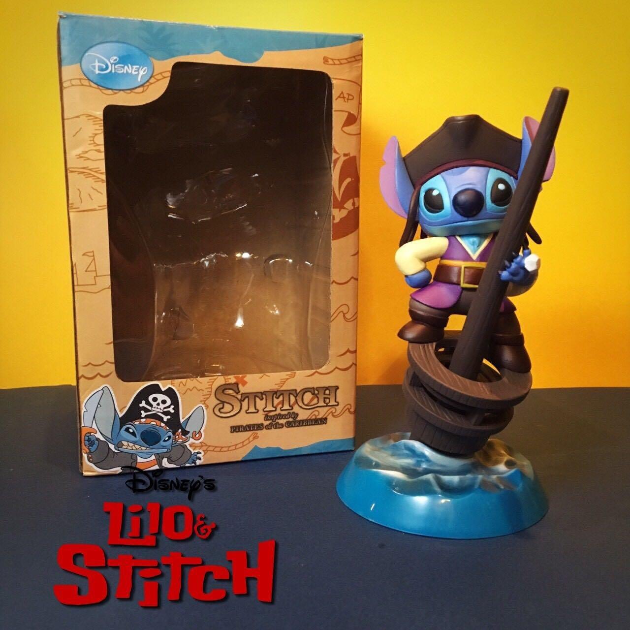 迪士尼 史迪奇 海盜 筆筒 筆座 筆架 筆桶 公仔 玩具 模型 擺件( 鑰匙圈
