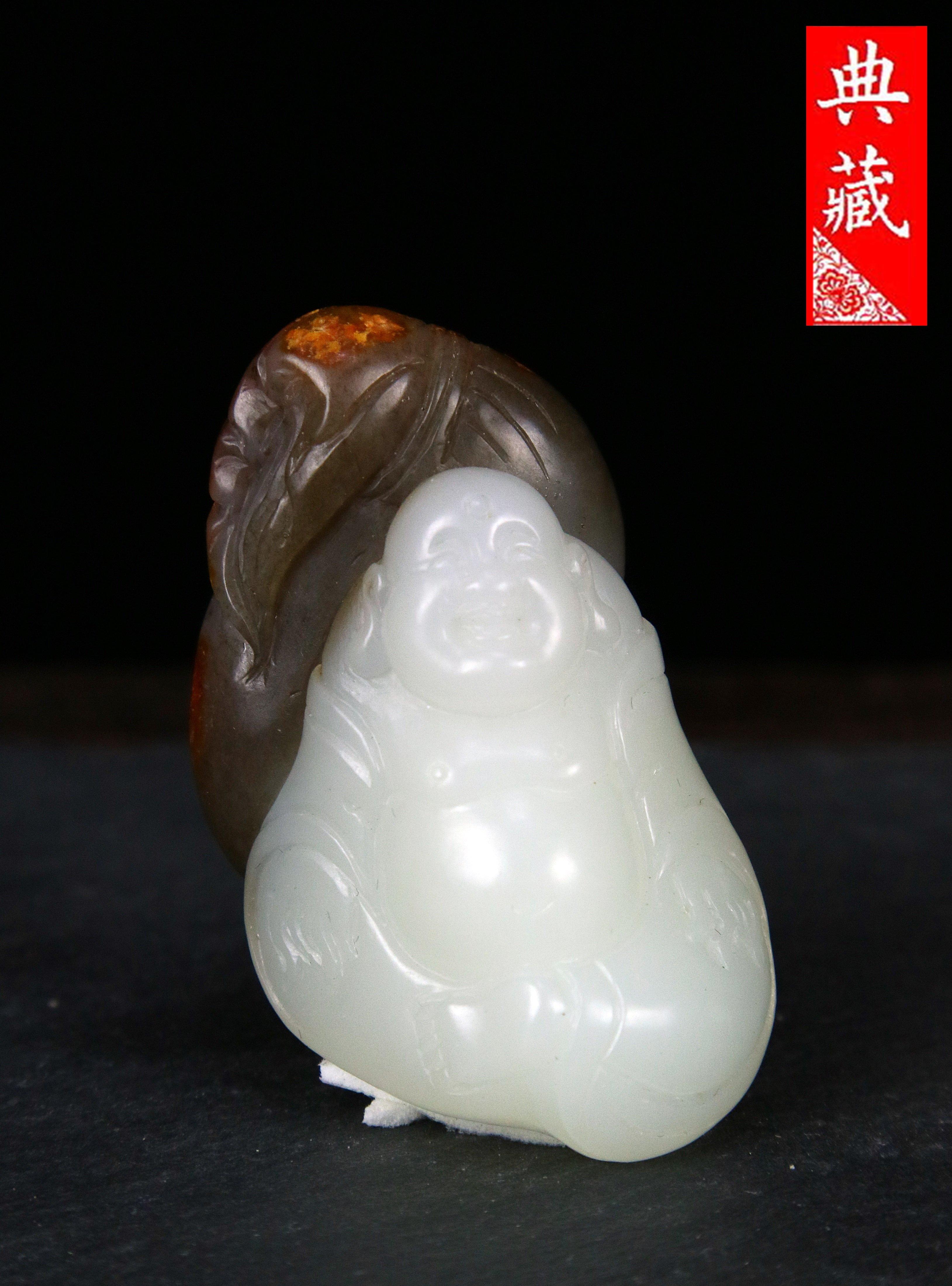 {典藏}正宗新疆和闐玉~羊脂白玉~典藏精品~巧雕~布袋彌勒