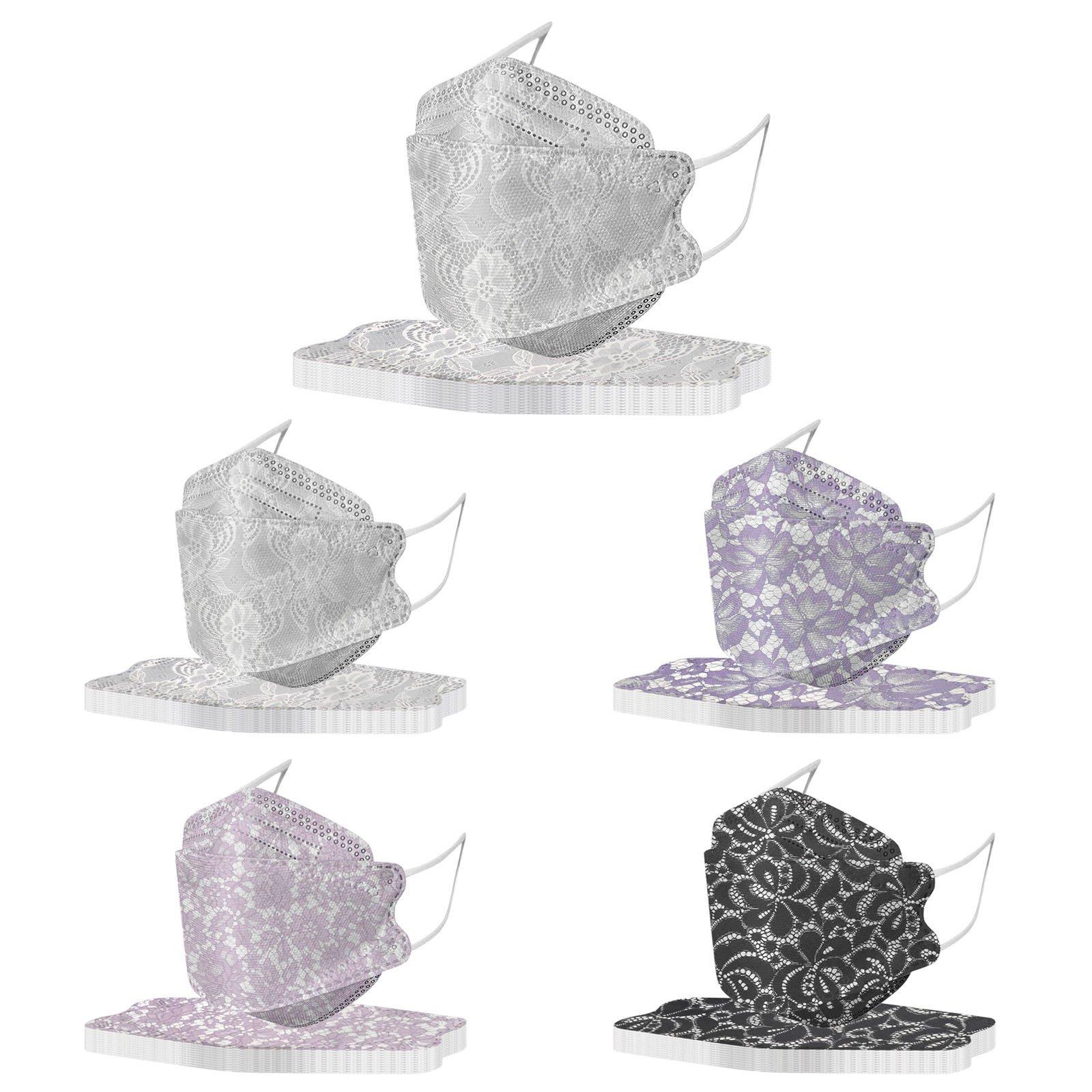 現貨10入蕾絲KF94-韓版魚嘴型口罩印花口罩蕾絲口罩柳葉型口罩 兒童口罩 成人口罩 個性口罩 熱銷口罩 收藏級口罩
