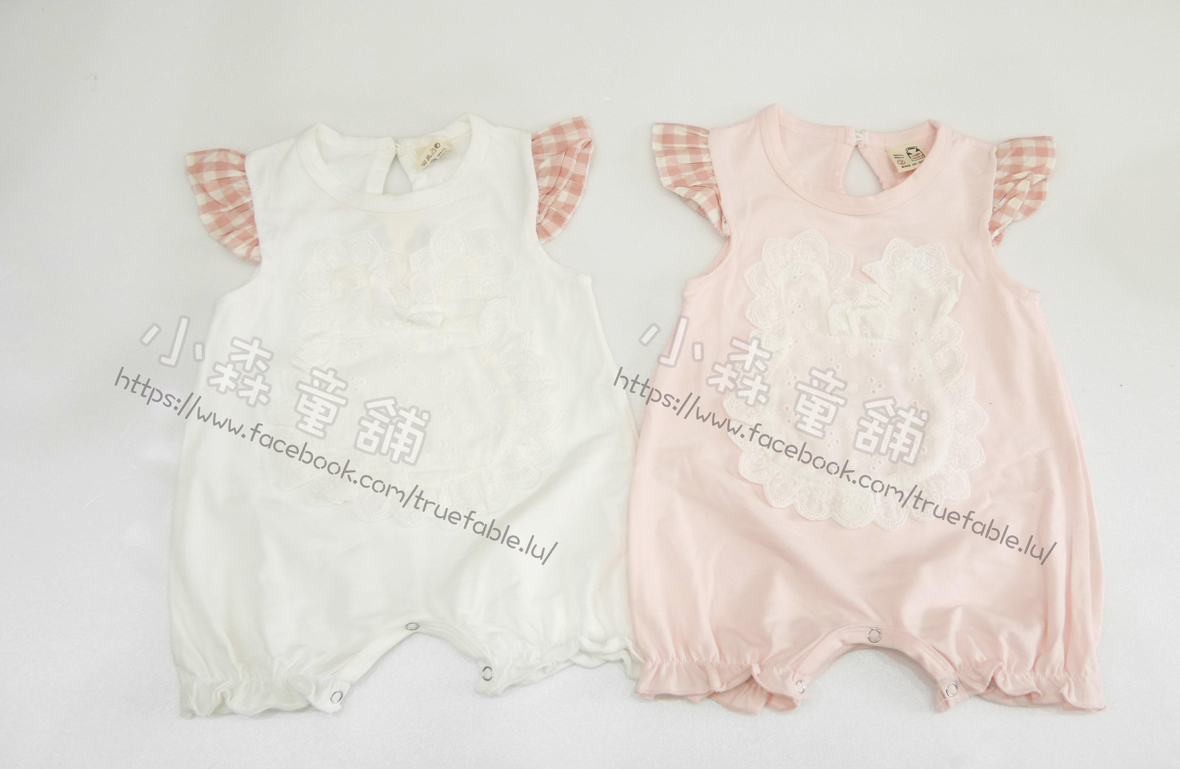 小森童舖 女童日系可愛 布蕾絲小兔子 短袖短褲 透氣棉質包屁衣連身衣 粉 白 2.3.4號