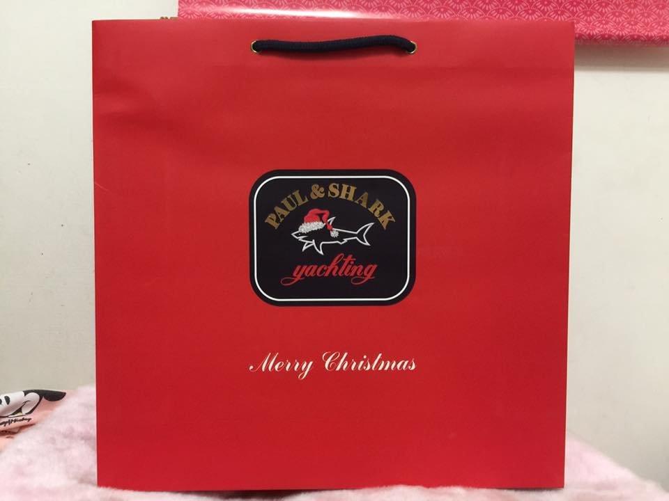 ~**粉紅魚兒**~ Paul   Shark - 版紅色耶誕鯊魚LOGO 中紙袋 手提袋 ( 40x12x39 )